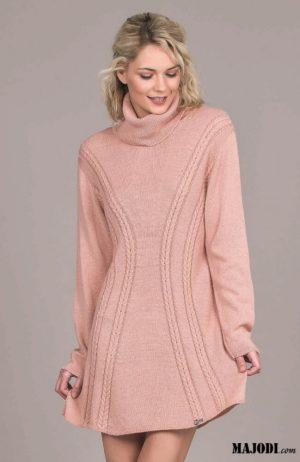 MAJODI.COM Vestido Malha rosa
