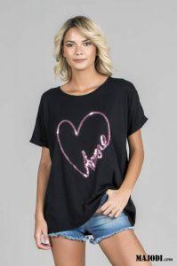 RUGA T010 T-shirt Amore preto MAJODI.COM