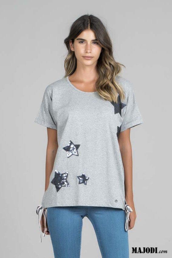 RUGA T011 T-shirt estrelas cinza MAJODI.COM