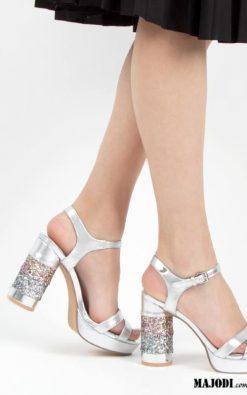 Sandálias prateada de tacão alto com detalhes em glitter GIOSEPPO