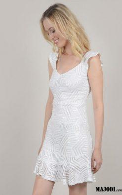 MAJODI.COM Vestido Branco com Lantejoulas MOLLYBRACKEN