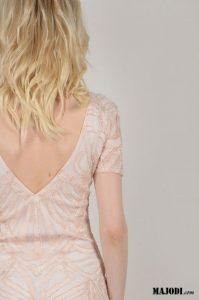 MAJODI.COM Vestido Rosa Decote nas Costas MOLLYBRACKEN
