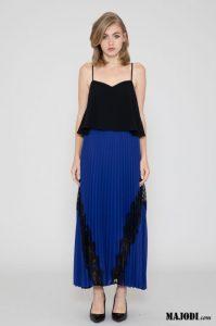 MAJODI.COM Vestido azul&preto plissado SILVIAN HEACH