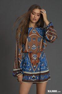 MAJODI.COM Vestido curto Castanho-Azul