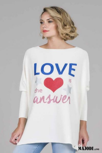 RUGA 1759 Camisola LOVE IS THE ANSWER MAJODI.COM