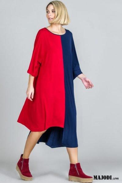 RUGA 2803 Vestido assimerico Bicolor MAJODI.COM