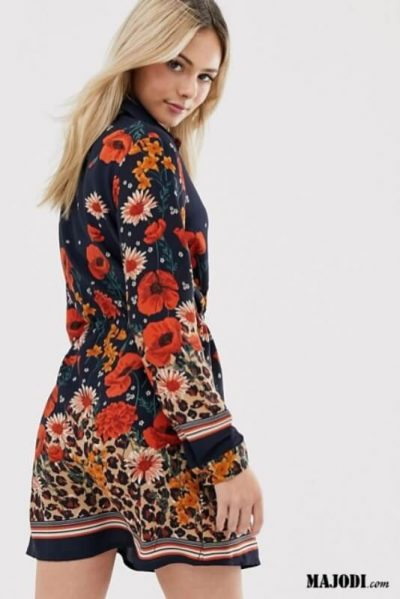 Vestido estampado com print flores e leopardo MAJODI.COM