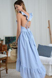 MOLLY BRACKEN Vestido azul riscas cruzado nas costas MAJODI.COM