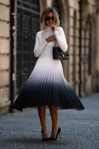 SCRIPTA Vestido plissado degrade branco MAJODI.COM